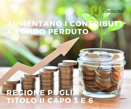 Regione Puglia Titolo II Capo 3 e 6: aumentano i contributi a fondo perduto